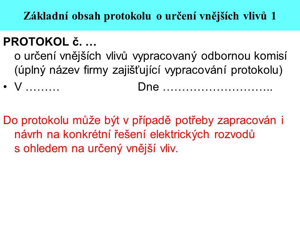 Základní obsah protokolu o určení vnějších vlivů 1