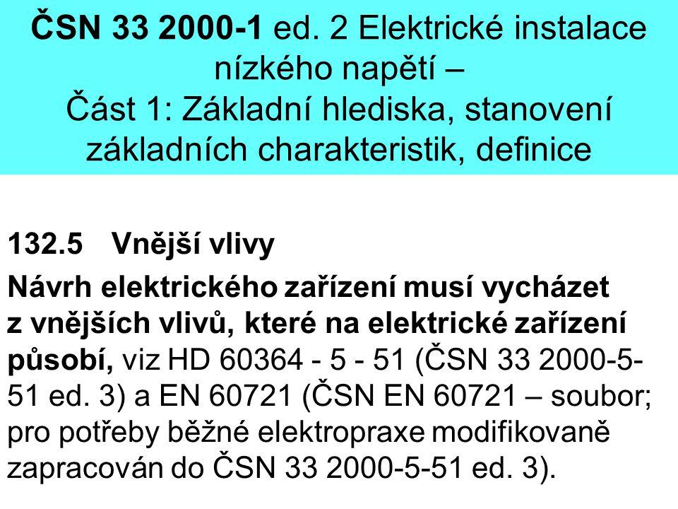 ČSN 33 2000-1 ed. 2 Elektrické instalace nízkého napětí – Část 1: Základní hlediska, stanovení základních charakteristik, definice