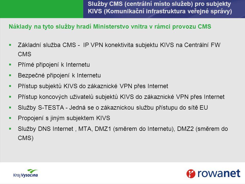 Služby CMS (centrální místo služeb) pro subjekty KIVS (Komunikační infrastruktura veřejné správy)