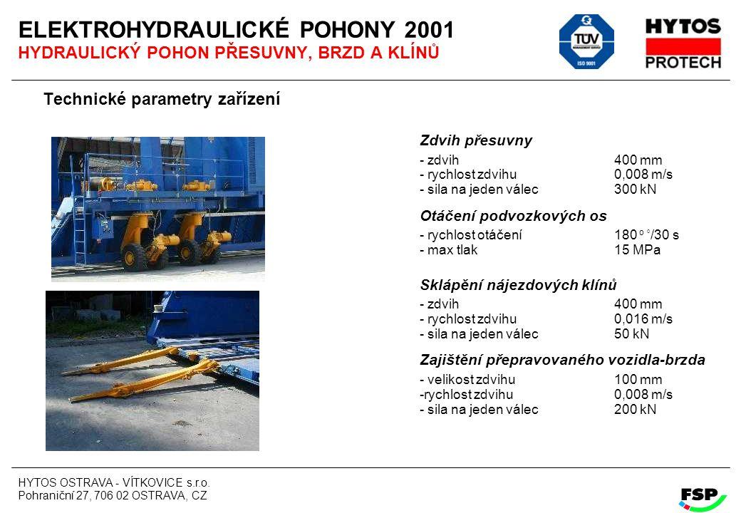 ELEKTROHYDRAULICKÉ POHONY 2001 HYDRAULICKÝ POHON PŘESUVNY, BRZD A KLÍNŮ