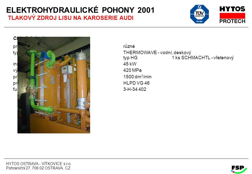 ELEKTROHYDRAULICKÉ POHONY 2001 TLAKOVÝ ZDROJ LISU NA KAROSERIE AUDI