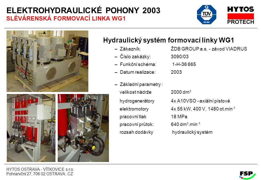 ELEKTROHYDRAULICKÉ POHONY 2003 SLÉVÁRENSKÁ FORMOVACÍ LINKA WG1