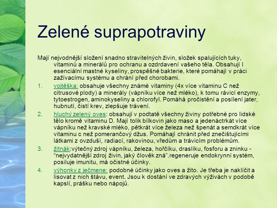 Zelené suprapotraviny