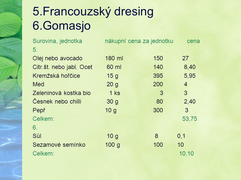 5.Francouzský dresing 6.Gomasjo