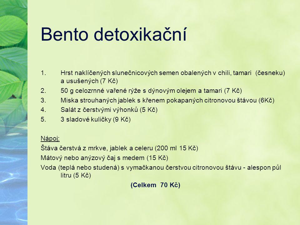 Bento detoxikační Hrst naklíčených slunečnicových semen obalených v chili, tamari (česneku) a usušených (7 Kč)