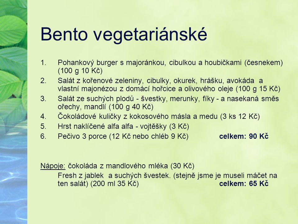 Bento vegetariánské Pohankový burger s majoránkou, cibulkou a houbičkami (česnekem) (100 g 10 Kč)