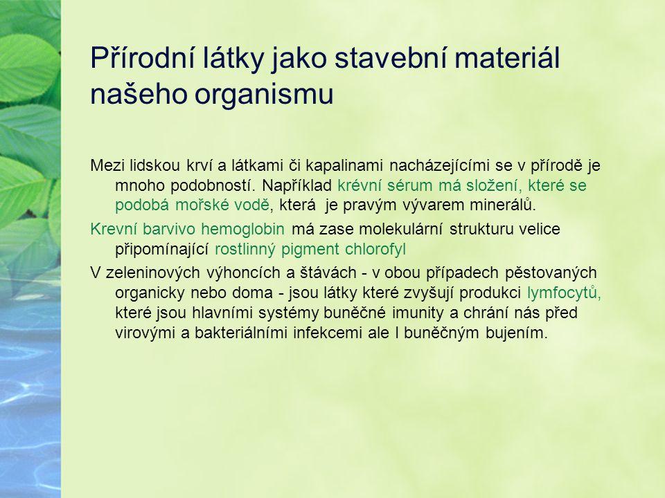 Přírodní látky jako stavební materiál našeho organismu