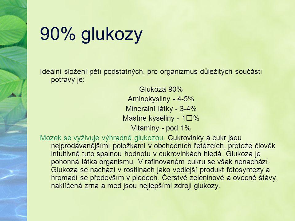 90% glukozy Ideální složení pěti podstatných, pro organizmus důležitých součásti potravy je: Glukoza 90%
