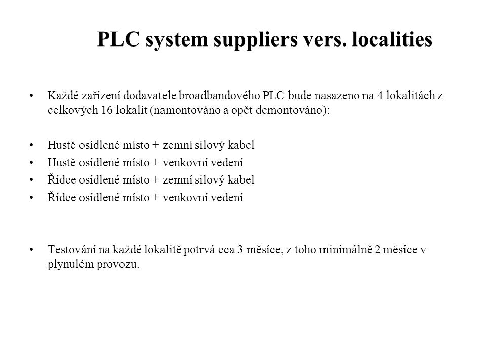 PLC system suppliers vers. localities