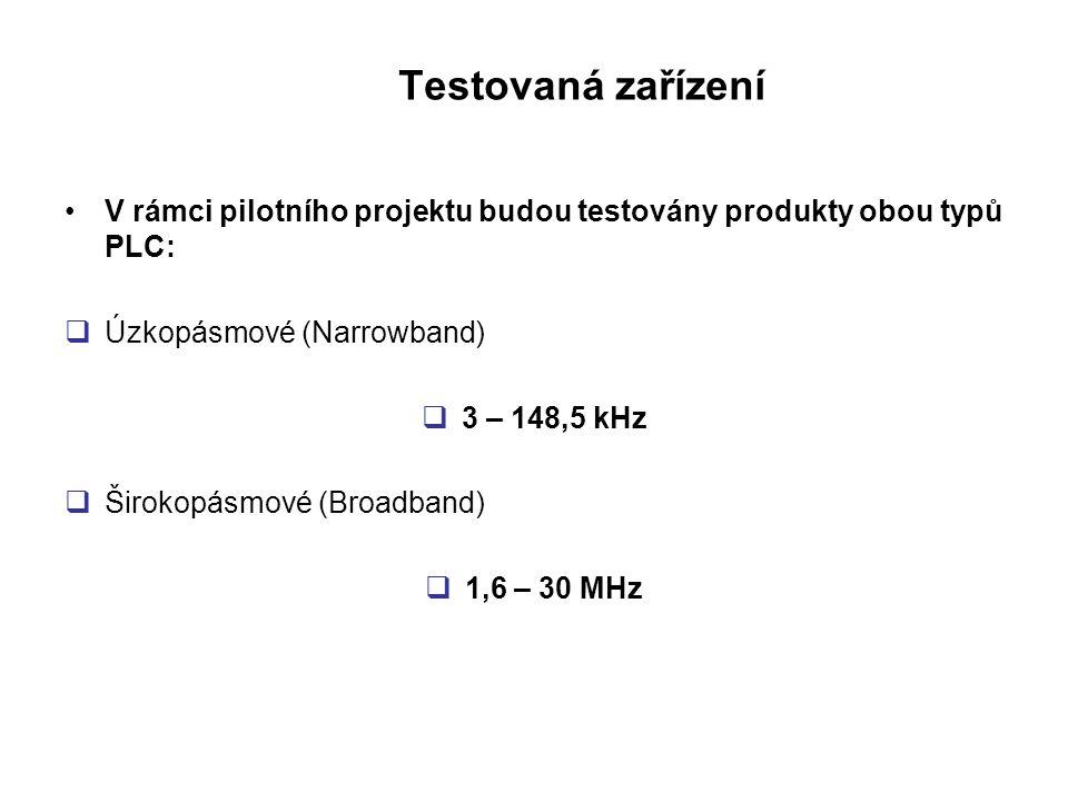 Testovaná zařízení V rámci pilotního projektu budou testovány produkty obou typů PLC: Úzkopásmové (Narrowband)
