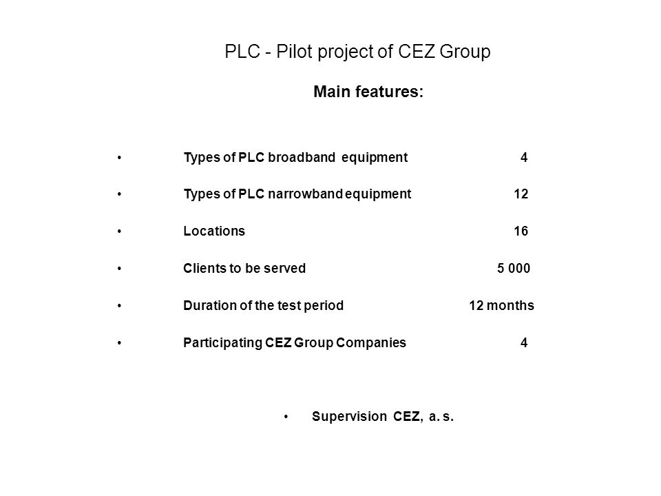 PLC - Pilot project of CEZ Group