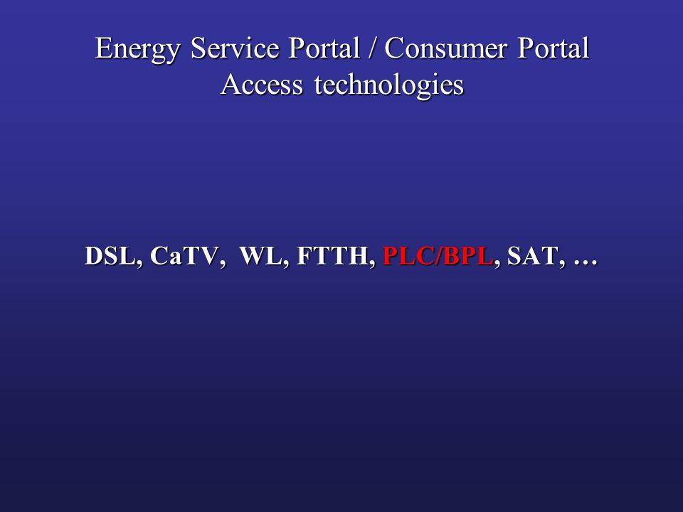 Energy Service Portal / Consumer Portal Access technologies