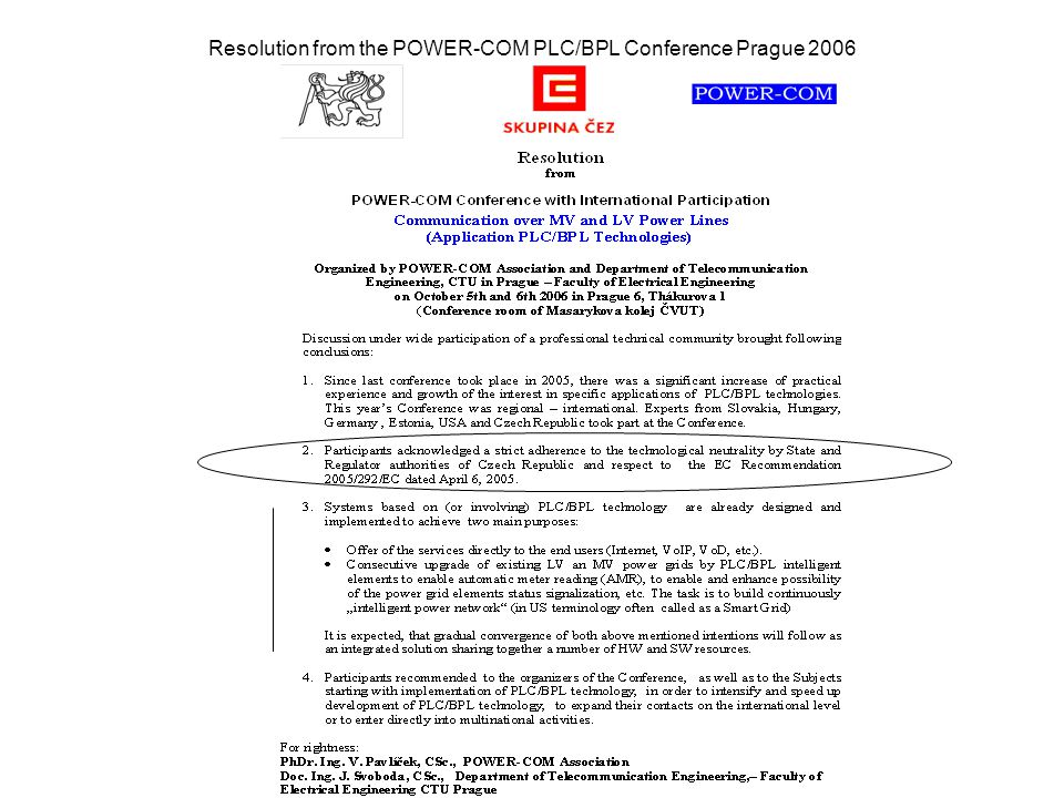 Resolution from the POWER-COM PLC/BPL Conference Prague 2006
