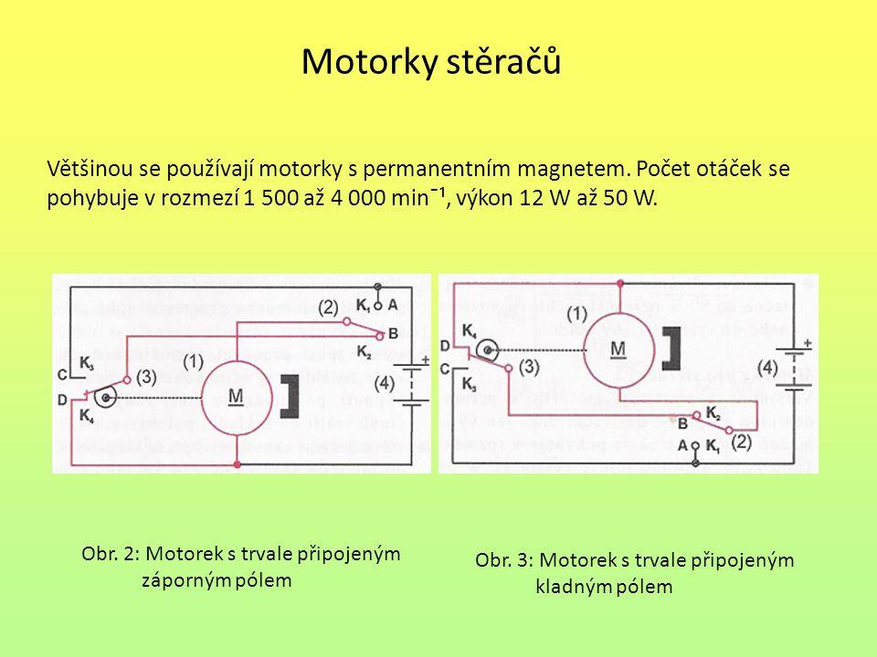 Motorky stěračů Většinou se používají motorky s permanentním magnetem. Počet otáček se pohybuje v rozmezí 1 500 až 4 000 min¯¹, výkon 12 W až 50 W.