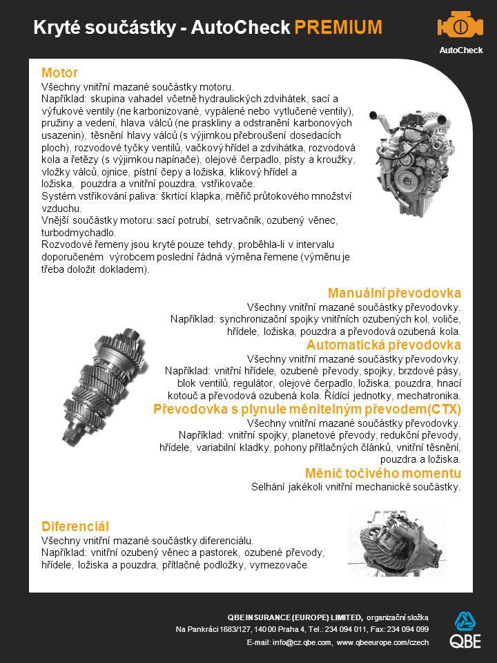 Kryté součástky - AutoCheck PREMIUM