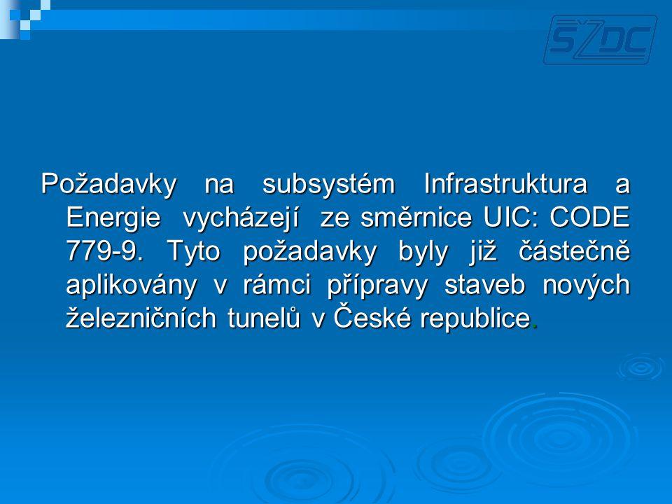 Požadavky na subsystém Infrastruktura a Energie vycházejí ze směrnice UIC: CODE 779-9.