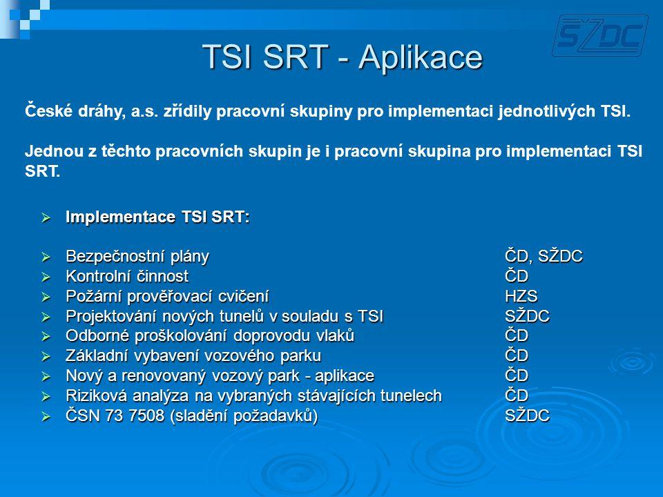 TSI SRT - Aplikace České dráhy, a.s. zřídily pracovní skupiny pro implementaci jednotlivých TSI.