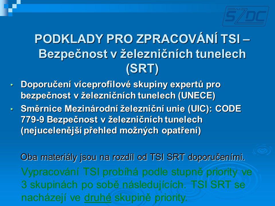 PODKLADY PRO ZPRACOVÁNÍ TSI – Bezpečnost v železničních tunelech (SRT)