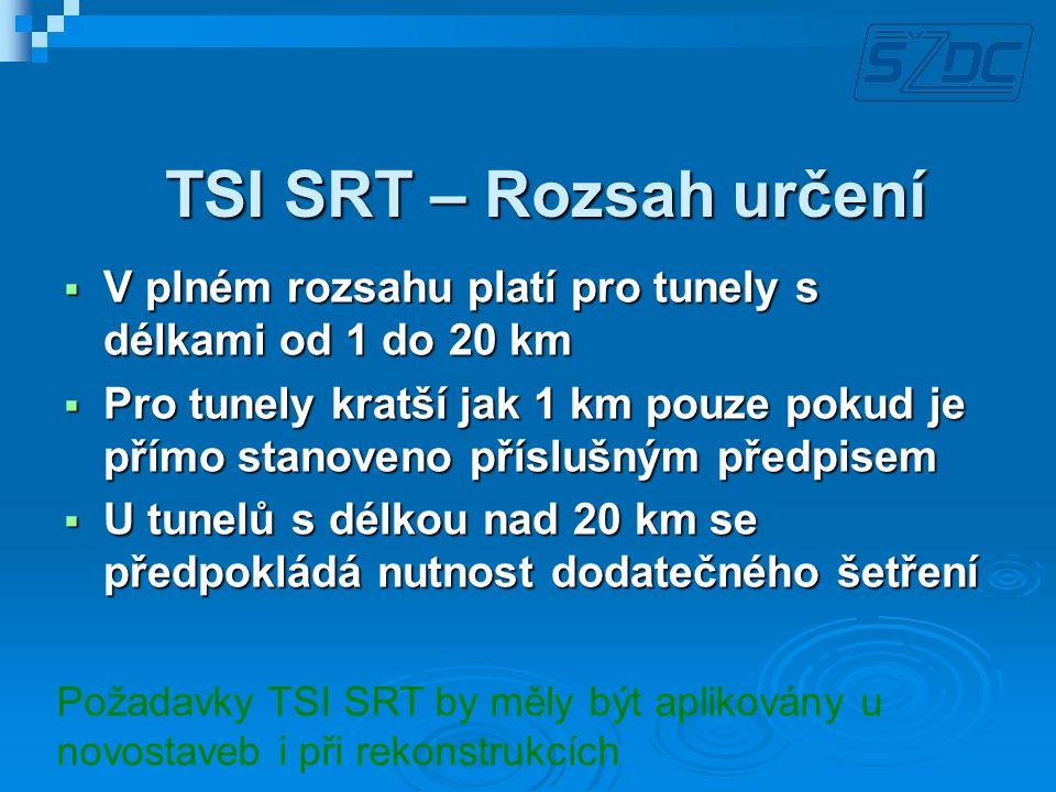 TSI SRT – Rozsah určení V plném rozsahu platí pro tunely s délkami od 1 do 20 km.