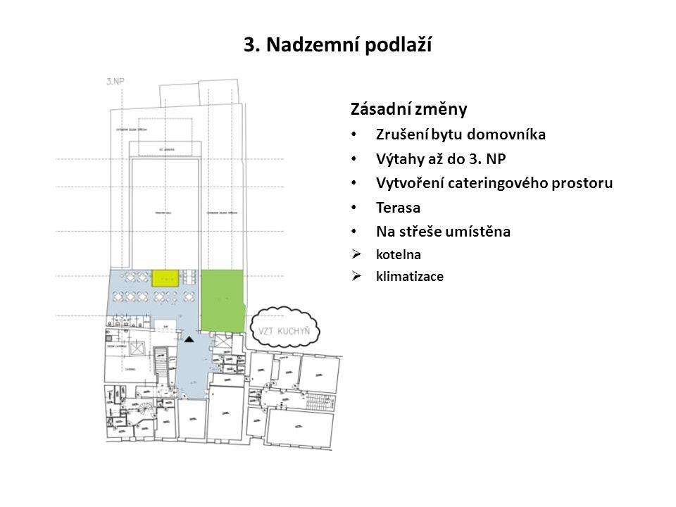 3. Nadzemní podlaží Zásadní změny Zrušení bytu domovníka