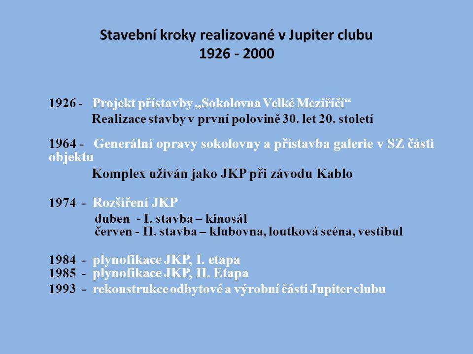 Stavební kroky realizované v Jupiter clubu 1926 - 2000