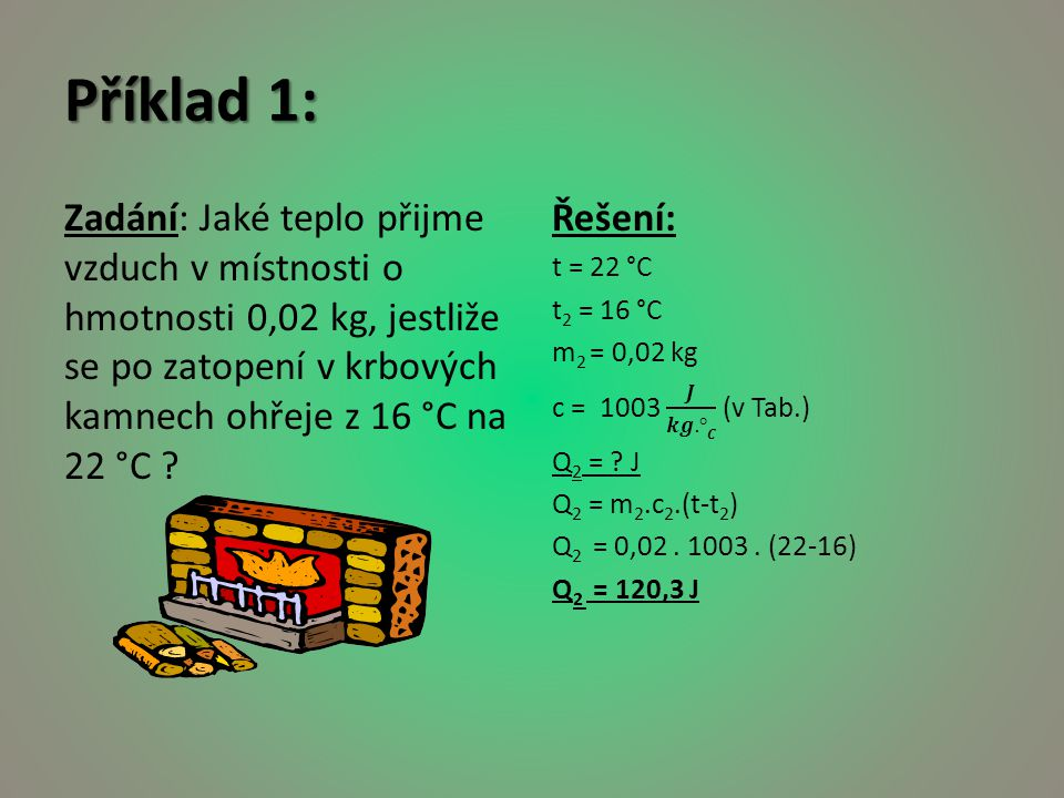 Příklad 1: Zadání: Jaké teplo přijme vzduch v místnosti o hmotnosti 0,02 kg, jestliže se po zatopení v krbových kamnech ohřeje z 16 °C na 22 °C