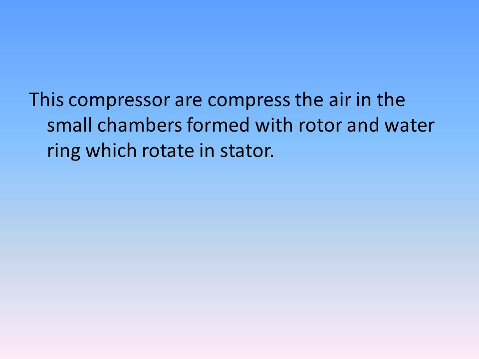 This compressor are compress the air in the small chambers formed with rotor and water ring which rotate in stator.