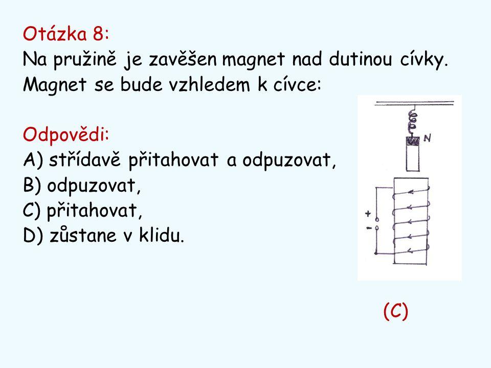 Otázka 8: Na pružině je zavěšen magnet nad dutinou cívky