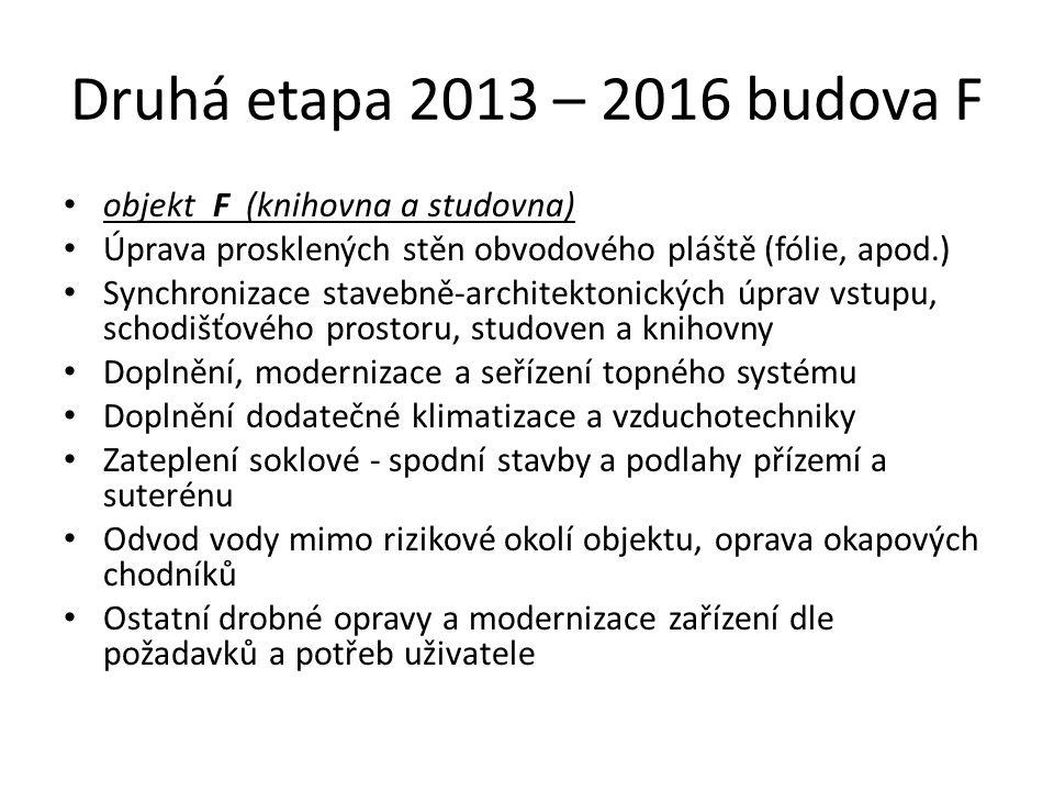 Druhá etapa 2013 – 2016 budova F objekt F (knihovna a studovna)