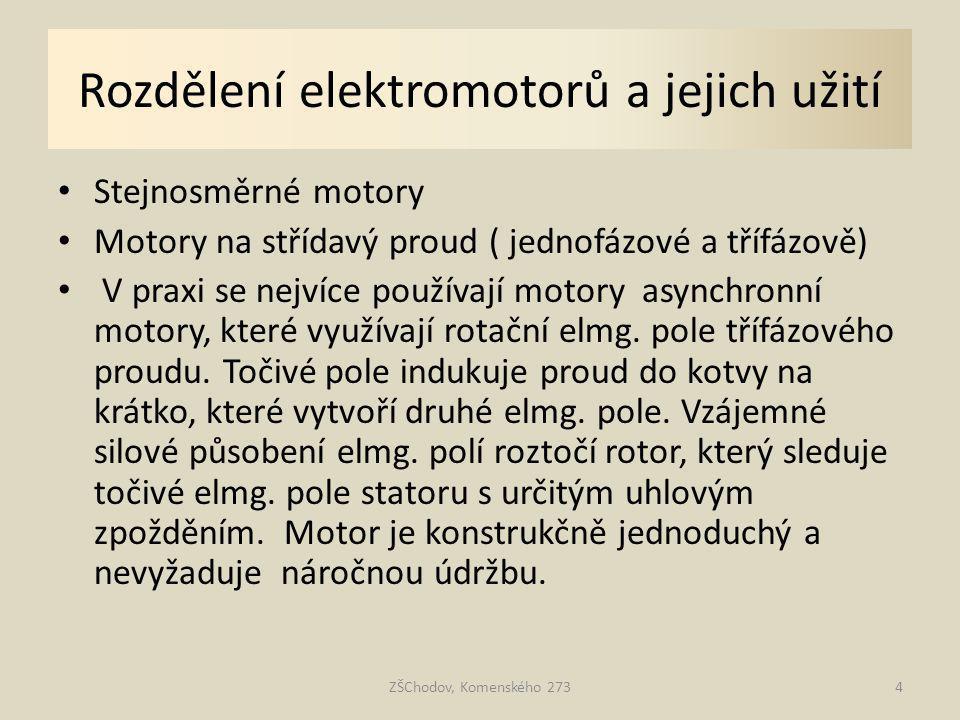 Rozdělení elektromotorů a jejich užití