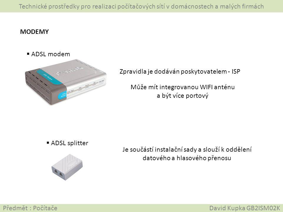Může mít integrovanou WIFI anténu a být více portový
