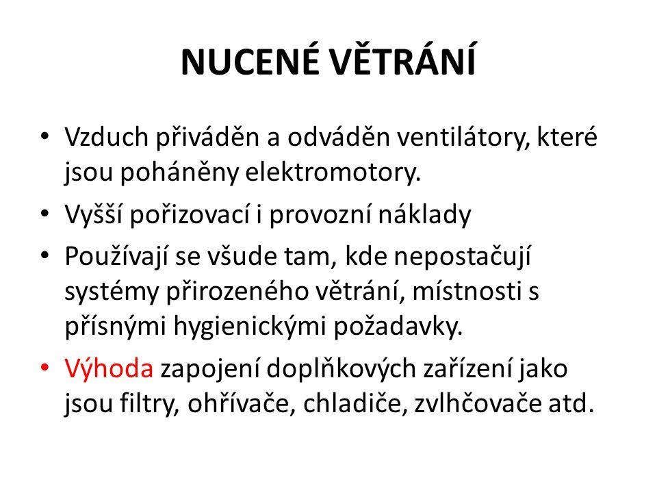 NUCENÉ VĚTRÁNÍ Vzduch přiváděn a odváděn ventilátory, které jsou poháněny elektromotory. Vyšší pořizovací i provozní náklady.
