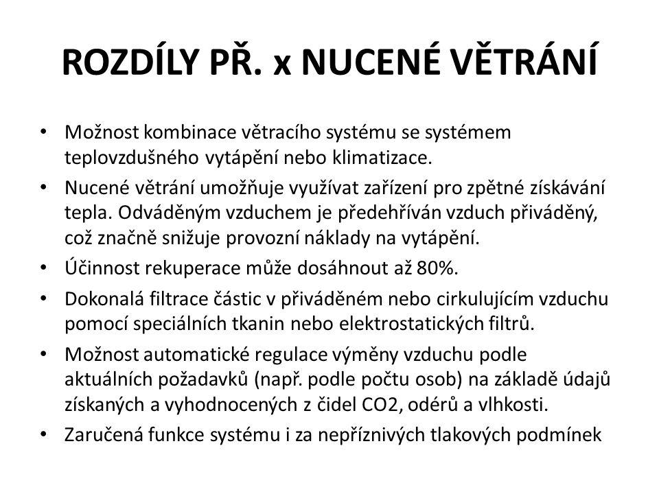 ROZDÍLY PŘ. x NUCENÉ VĚTRÁNÍ