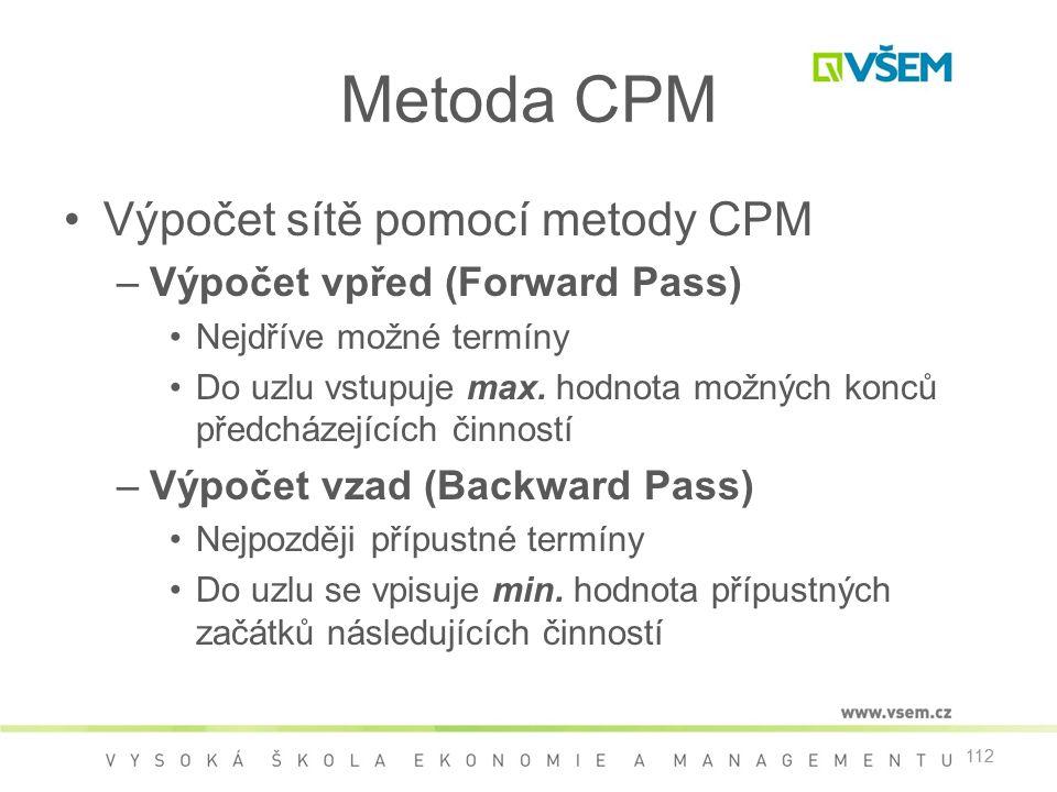 Metoda CPM Výpočet sítě pomocí metody CPM Výpočet vpřed (Forward Pass)