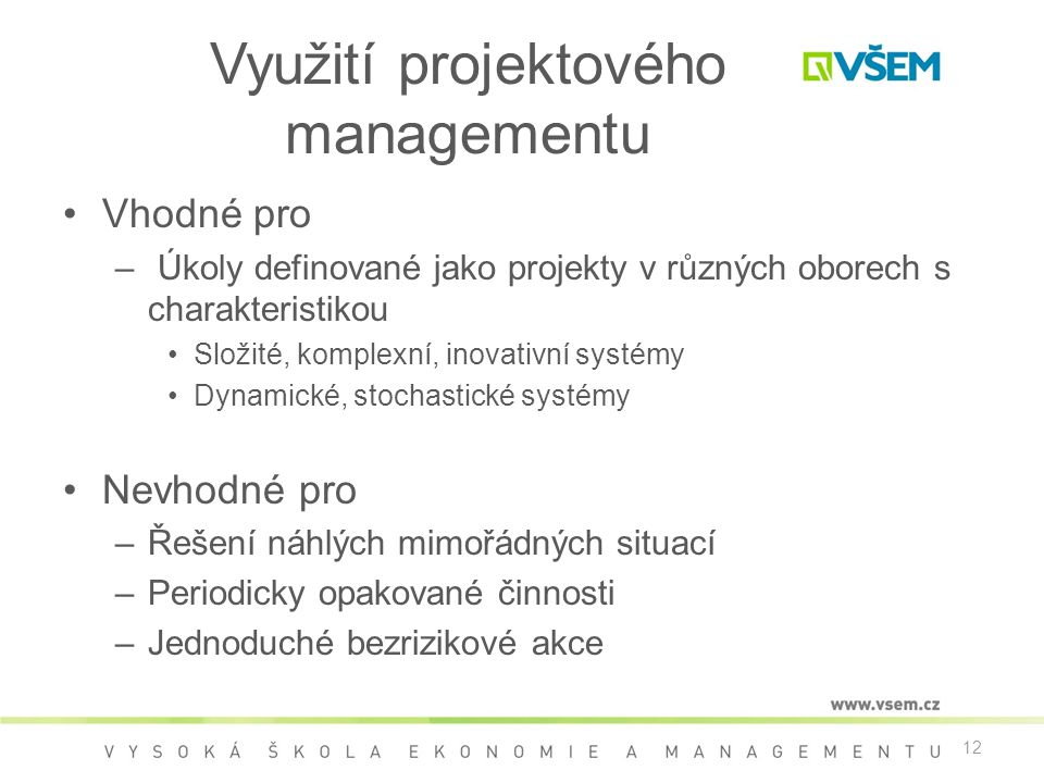 Využití projektového managementu