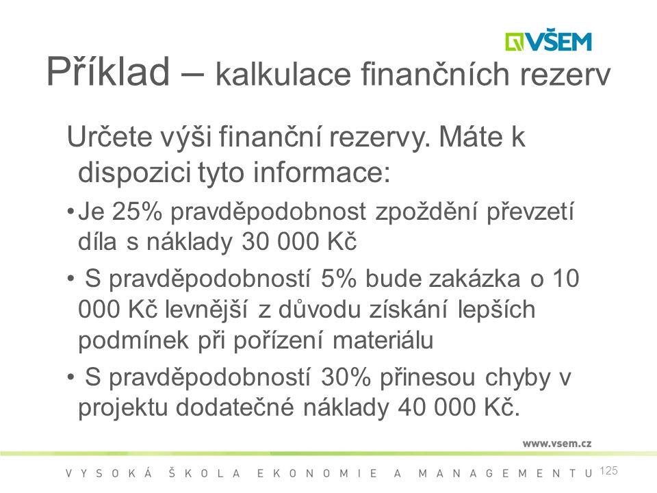 Příklad – kalkulace finančních rezerv