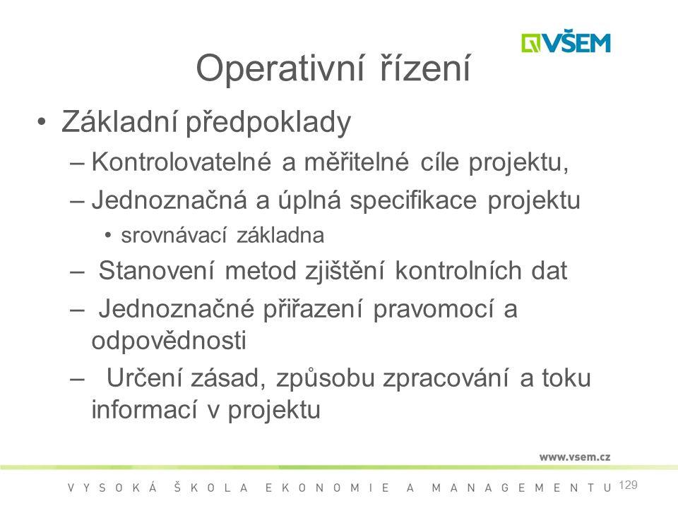 Operativní řízení Základní předpoklady