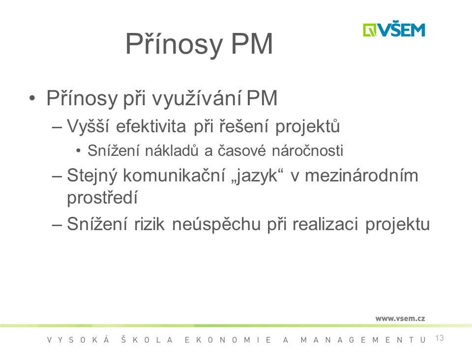 Přínosy PM Přínosy při využívání PM
