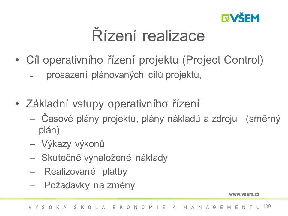 Řízení realizace Cíl operativního řízení projektu (Project Control)