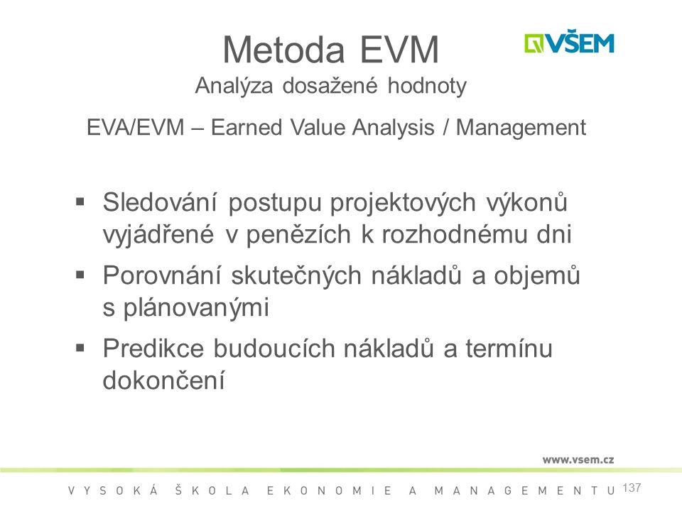 Metoda EVM Analýza dosažené hodnoty EVA/EVM – Earned Value Analysis / Management