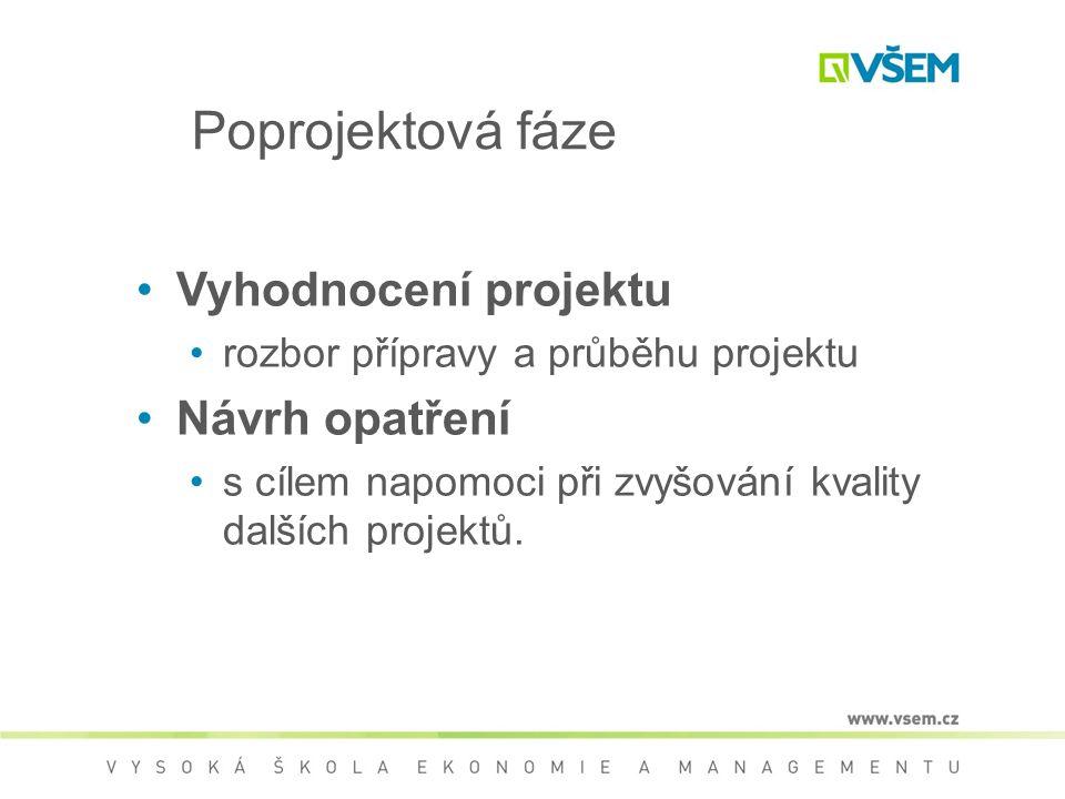 Poprojektová fáze Vyhodnocení projektu Návrh opatření