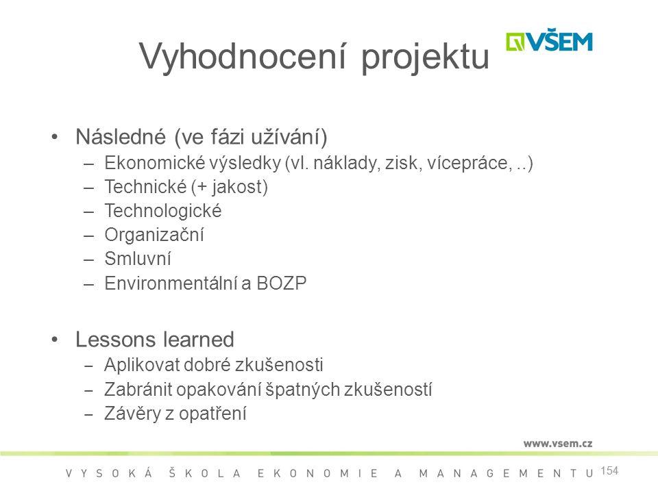 Vyhodnocení projektu Následné (ve fázi užívání) Lessons learned