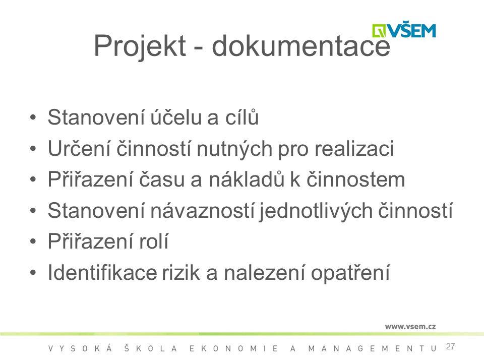 Projekt - dokumentace Stanovení účelu a cílů