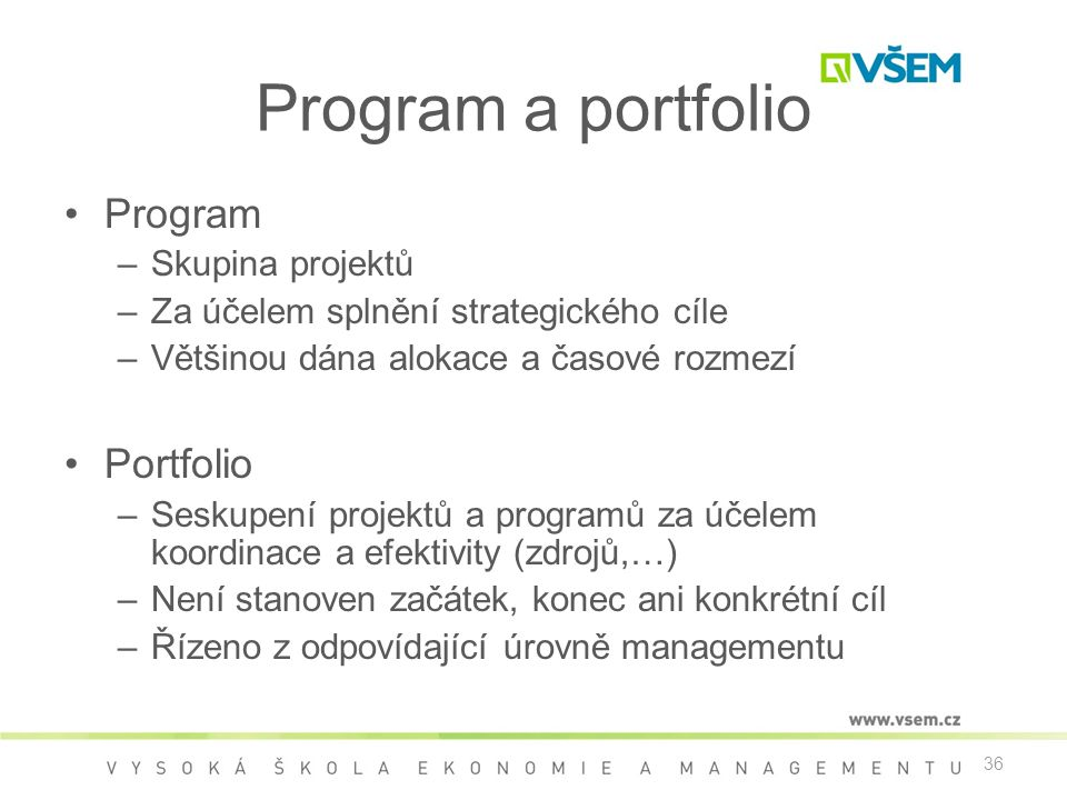 Program a portfolio Program Portfolio Skupina projektů