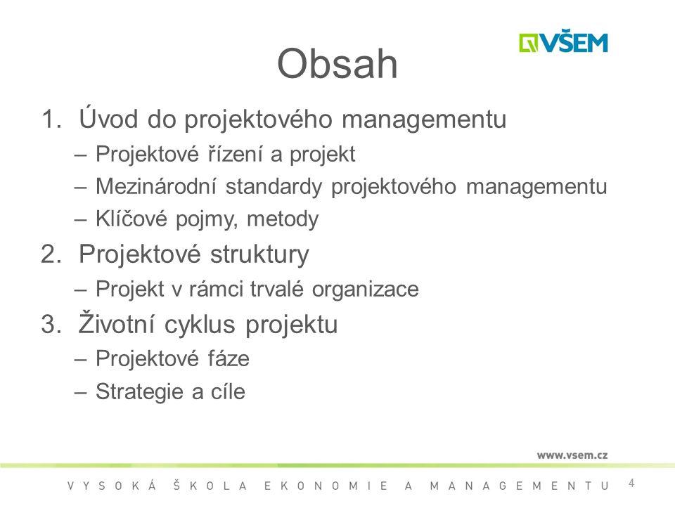 Obsah Úvod do projektového managementu Projektové struktury