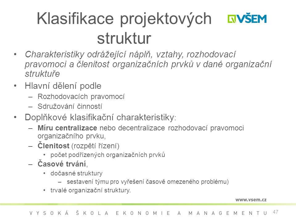 Klasifikace projektových struktur