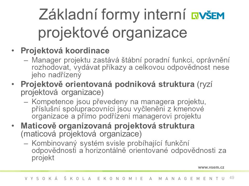 Základní formy interní projektové organizace