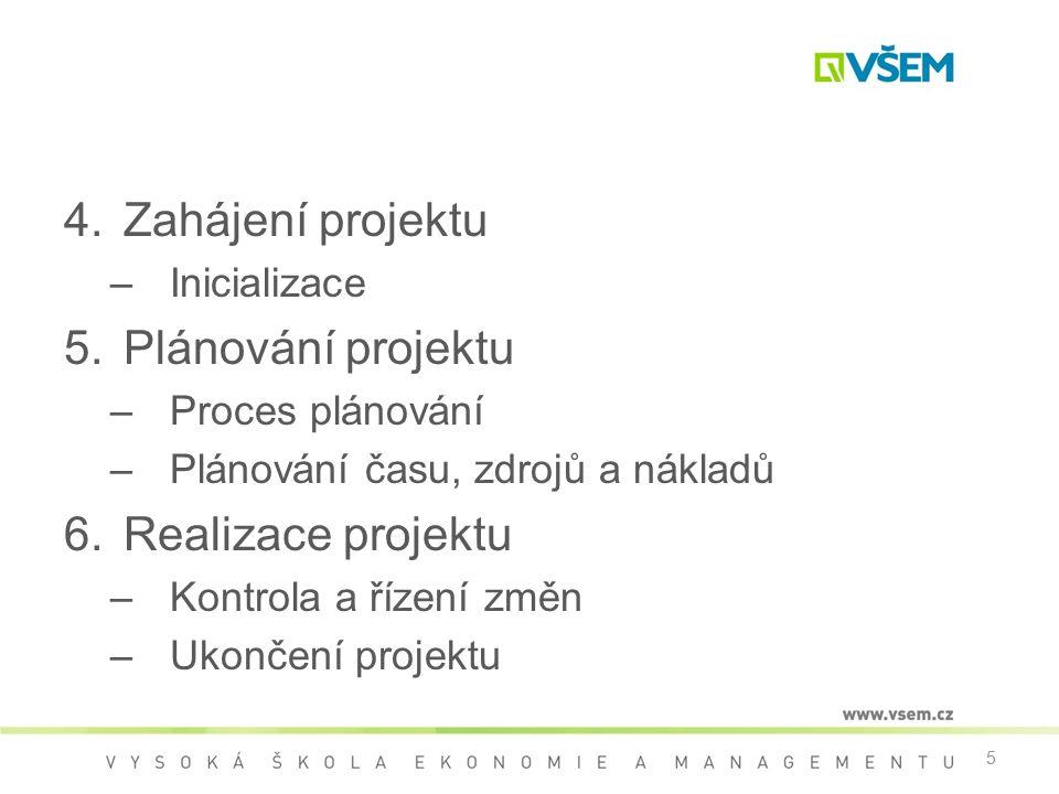 Zahájení projektu Plánování projektu Realizace projektu Inicializace