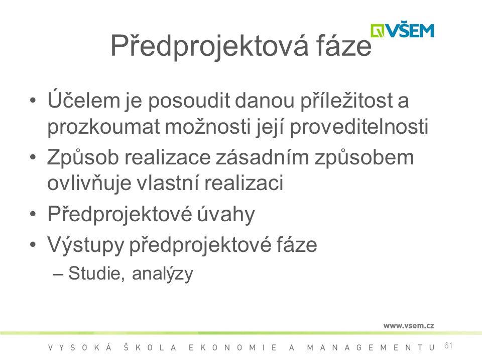Předprojektová fáze Účelem je posoudit danou příležitost a prozkoumat možnosti její proveditelnosti.
