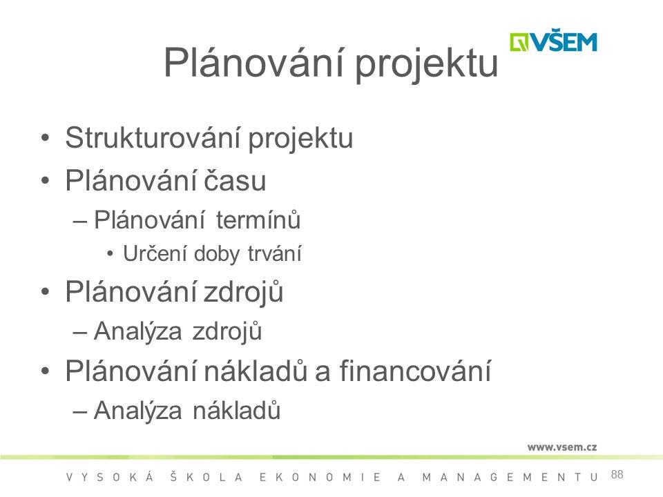 Plánování projektu Strukturování projektu Plánování času